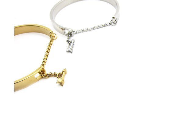 Be Brave Bangle with chain arrow - Silver - themultistorey.co