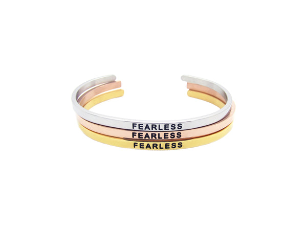 Adjustable Stainless Steel Wording Cuffs (Avail in Rosegold, Silver, Gold) - themultistorey.co