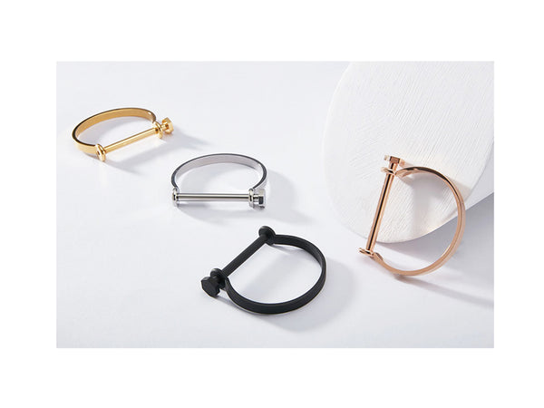 Cara Screw Bangle - Rosegold - themultistorey.co