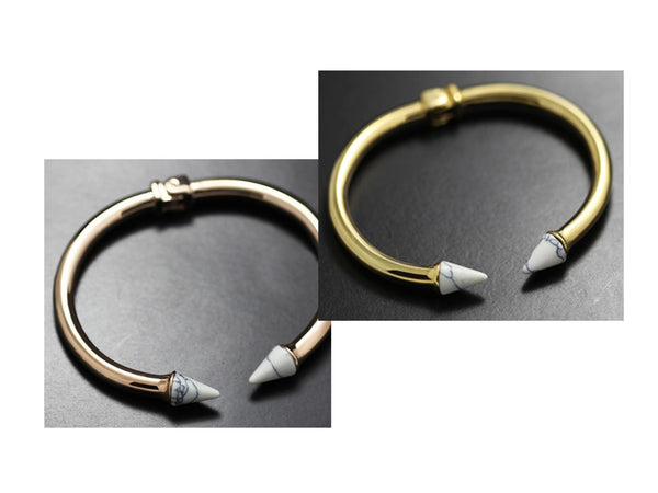 Cate Bangle with Green Stones - Gold / Silver - themultistorey.co