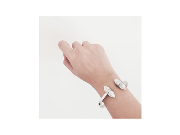Inez Marble Bangle - Silver - themultistorey.co