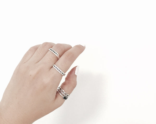 Square Chain Ring - Antique Silver - themultistorey.co