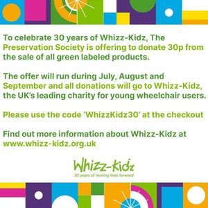 To celebrate Whizz-Kidz 30 years, we're giving 30p for all Green Labelled Jars sold for 3 months