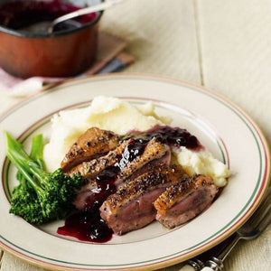 Peppered Duck Breast with Blackcurrant Sauce