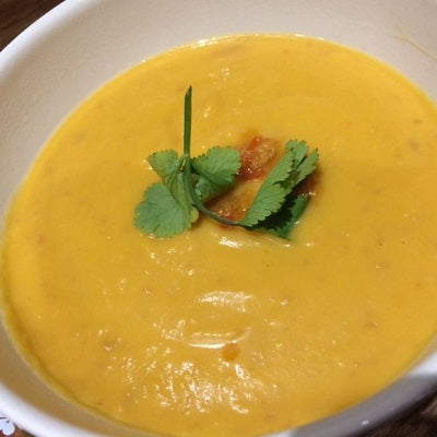 Butternut Squash Soup with Coconut Milk and Sambal Ulek