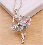 Ballet Girl Crystal Long Pendant Necklace