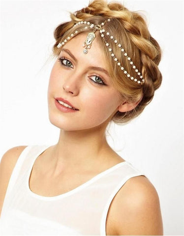 Crystal Charms Bridal Headband - Beaded Glass Pearls, Gold Filled & Crystals