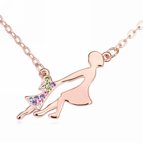 Rose Gold Plated Mother & Daughter Dancing Necklace
