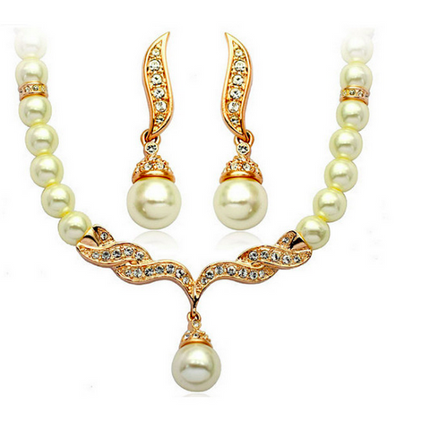 Royal Bridal Jewelry Set - Rhinestone Rose Gold Crystal Pearls Necklace + Earrings