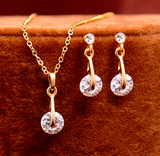 Elegant Bridal Jewelry Set - Yellow Gold Filled & CZ Crystals Chain Necklace + Earrings