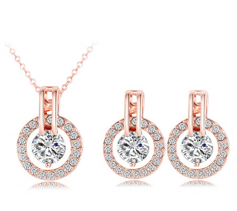Unique Bridal Jewelry Set - Rose Gold Plated Necklace & CZ Crystals + Earrings