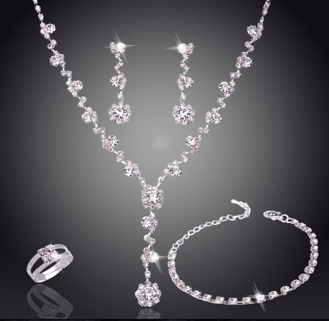 Shining Bridal Jewelry Set - Silver Plated & Austrian Crystals - Necklace, Earrings, Ring & Bracelet