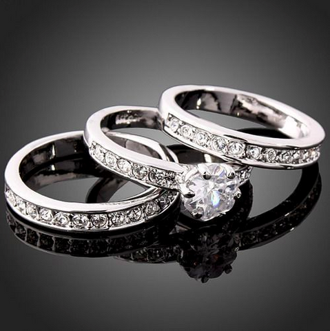 3-in-1 Wedding Band Rings Set - Swarovski Crystals CZ, White Gold Plated