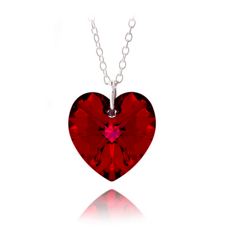 Red love crystal pendant swarovski style red crystal heart red love crystal pendant swarovski style red crystal heart sterling silver pendant aloadofball Image collections