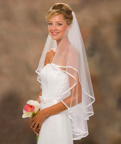 Pure White Wedding Veil - Beautiful Two Layers Wedding Veil, Ribbon Edges + Comb