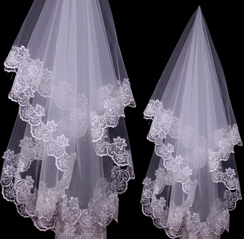Elegant Lace Wedding Veil - Beautiful One Layers Wedding Veil, Lace Edges
