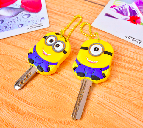 Funny Minions Key Covers - Pair of Key Cover Keyring, Minions Despicable Me 2