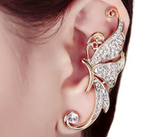 Butterfly Wing Shining Left Ear Clip - Beautiful Butterfly Wing with Rhinestones