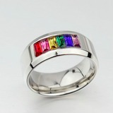 Gay & Lesbian Pride Smooth Rainbow Ring - Stainless Steel & Crystals