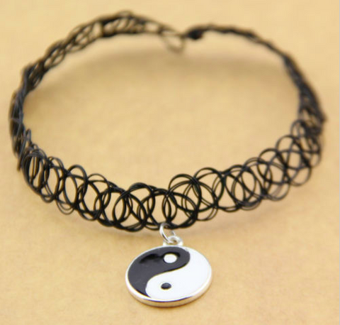Retro Tattoo Choker with Yin-Yang Pendant