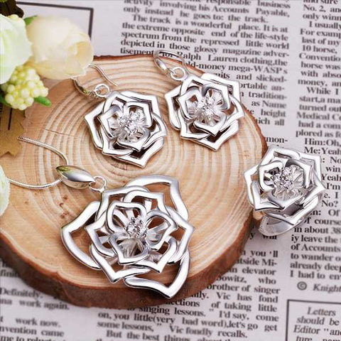 Sterling Silver Flower Charm Pendant Necklace+Earrings+Ring Jewelry Set