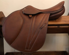 "Item #B73E – Butet Premium Full Calfskin NEW AND UNUSED 17.5/18 Long/Forward Flap for Taller Rider, the New ""Medium"" Seat Depth Model from Butet, Retail $6,000 - ours $4995"