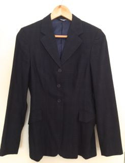 Item #E2E- Elite (made in Canada) Show Coat, Navy, Ladies Size 10/tall (approximately size 4 in street clothing), Must see in person to appreciate gorgeous cut and fabric