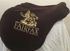 Item #M132C - Fairfax 17/17.5, Full Calfskin, Patent Pending Panel Design for Maximizing Freedom of Movement for the Horse, with Three Sets of Front/Back Blocks on Velcro for Interchanging, plus Bonus Free Calfskin Leathers and Free Jointed Irons
