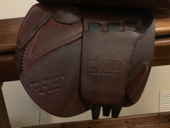 "Item #CW84C - CWD 16.5 2016, 2L Flap (Long Flap Relative to This Seat Size), Near Mint Condition, with CWD Leathers and MDC ""S"" Irons"