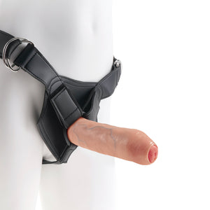 Uncut Cock with Strap-On - 18 cm realistisk dildo och sele