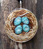 BIRD'S NEST NECKLACE hand embroidered pendant jewelry