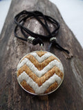 hand embroidered GOLD CHEVRON NECKLACE