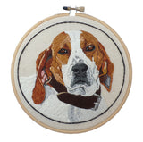 CUSTOM  BEAGLE PORTRAIT EMBROIDERED HOOP