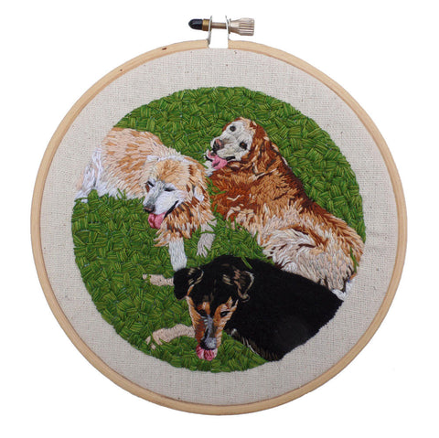 Custom Multiple Pet Portrait Embroidered Hoop