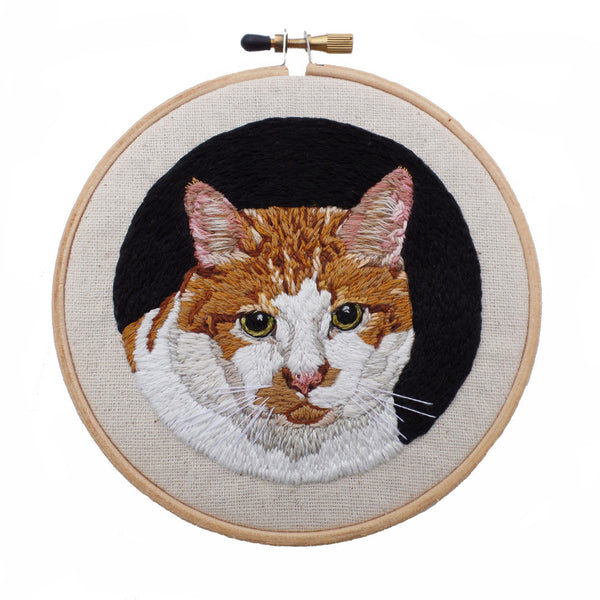 Custom Cat Portrait Embroidered Hoop