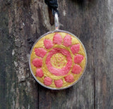 embroidered pendant nacklace