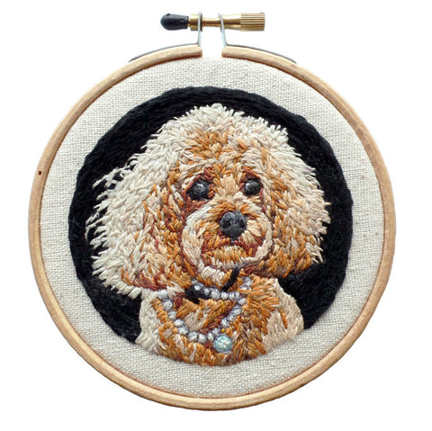 Custom Hand Embroidered Dog Portrait