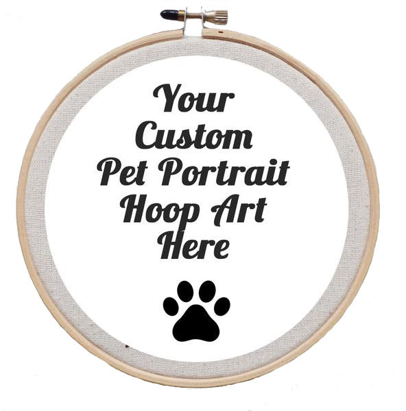 A Custom Pet Portrait Embroidered Hoop