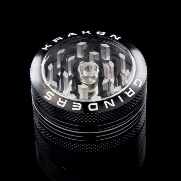 Kraken Grinders - 2 Part Grinder with Easy-Clear Push Button