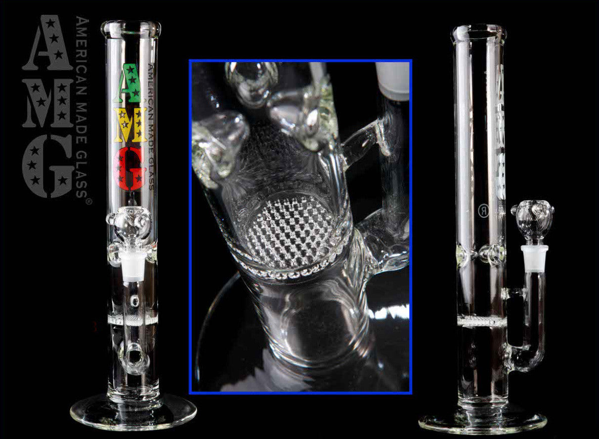 AMG Glass - Honeycomb Perc Straight Tube