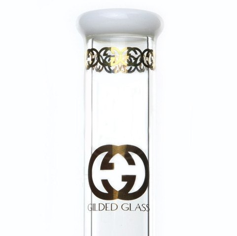Gilded Glass - Showerhead Perc Beaker w/ White Jade Accents 15'' - 18''