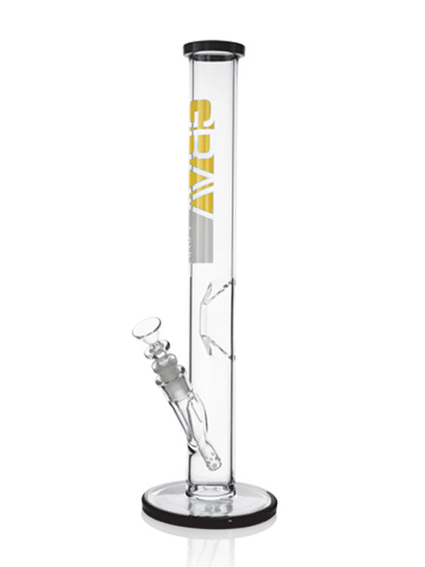 Sixteen inch Grav Labs Flare Foot Straight Tube bong with Geometric Ice Pinch with black accents