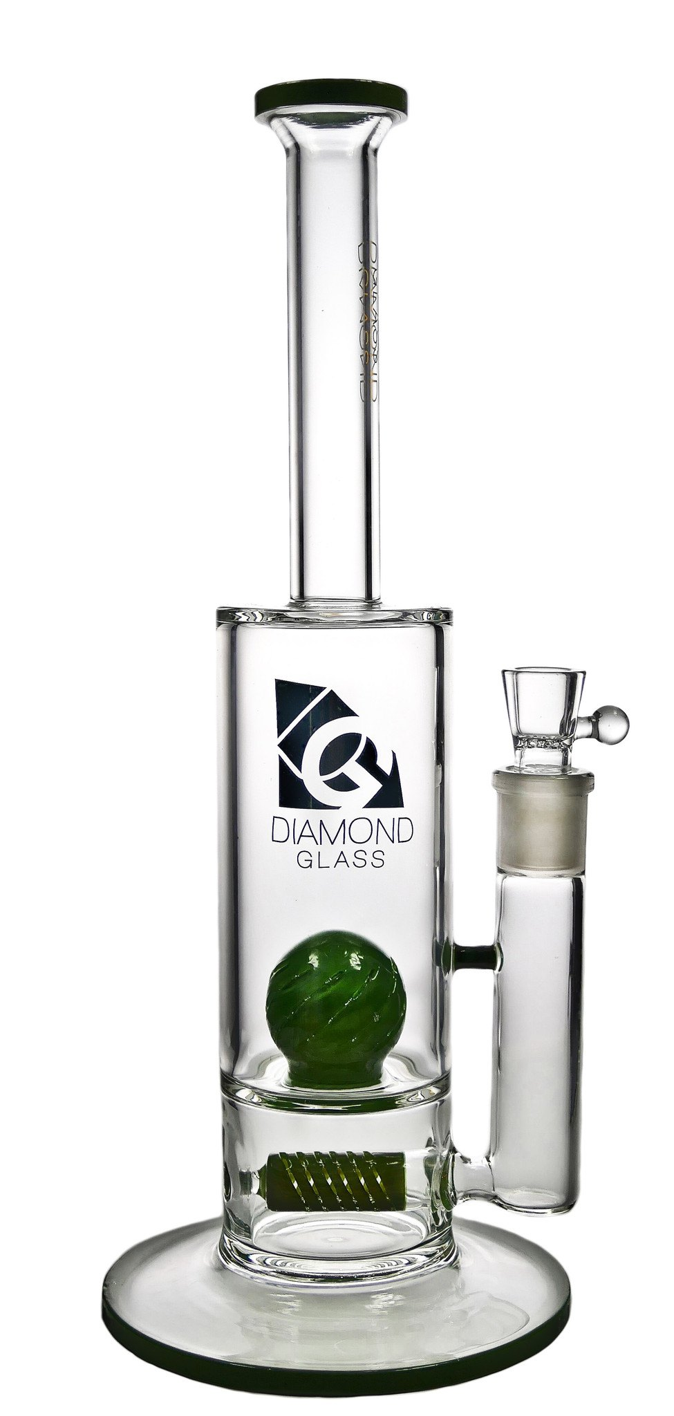 Diamond Glass - Gridded Stem Line to Gridded Ball Water Pipe 14''