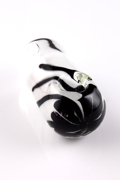 Glassheads - Black and white frit egg with daisy flower head
