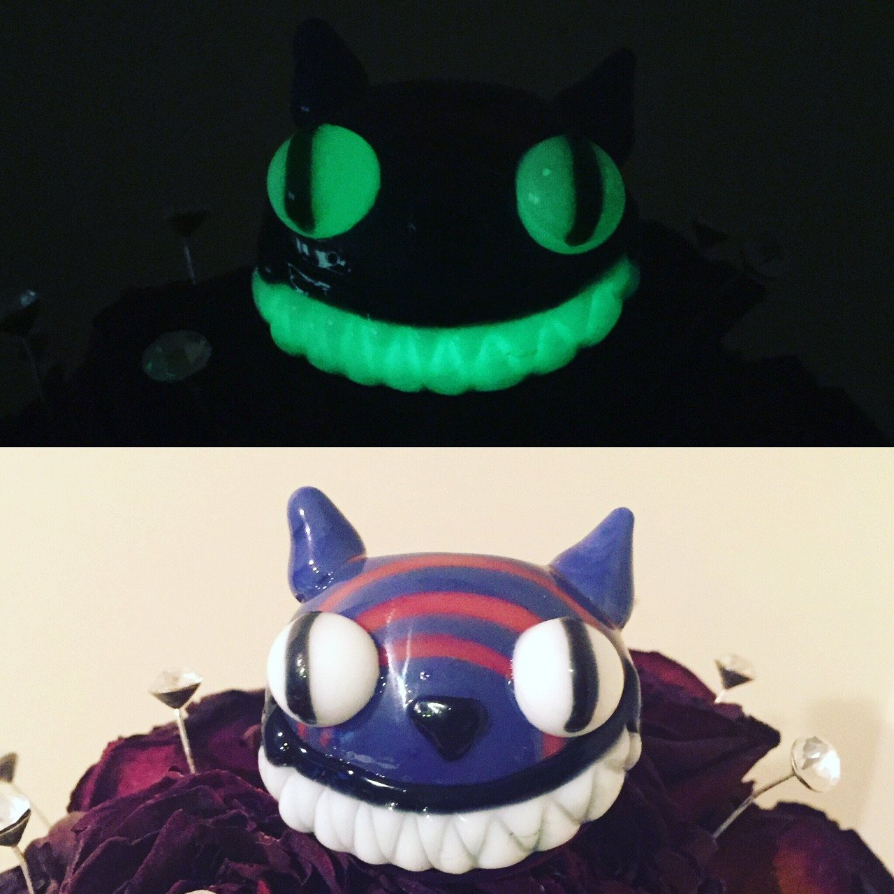 Chameleon Glass - Cheshire Cat Glow in the Dark Pipe