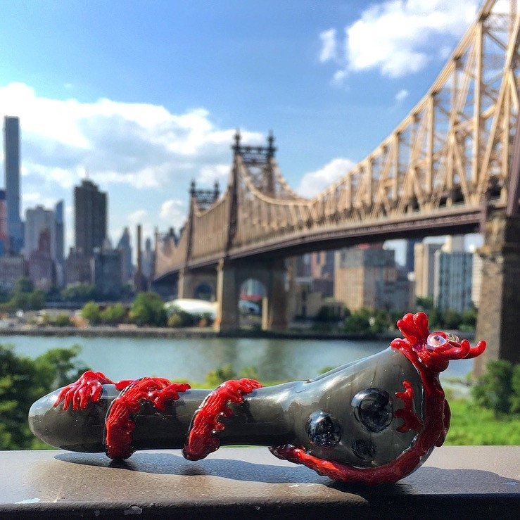 Empire Glassworks - Red Dragon Hand Pipe