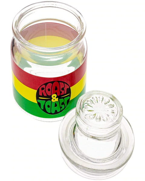 Premium Roast & Toast Glass Stash Jar &Lid