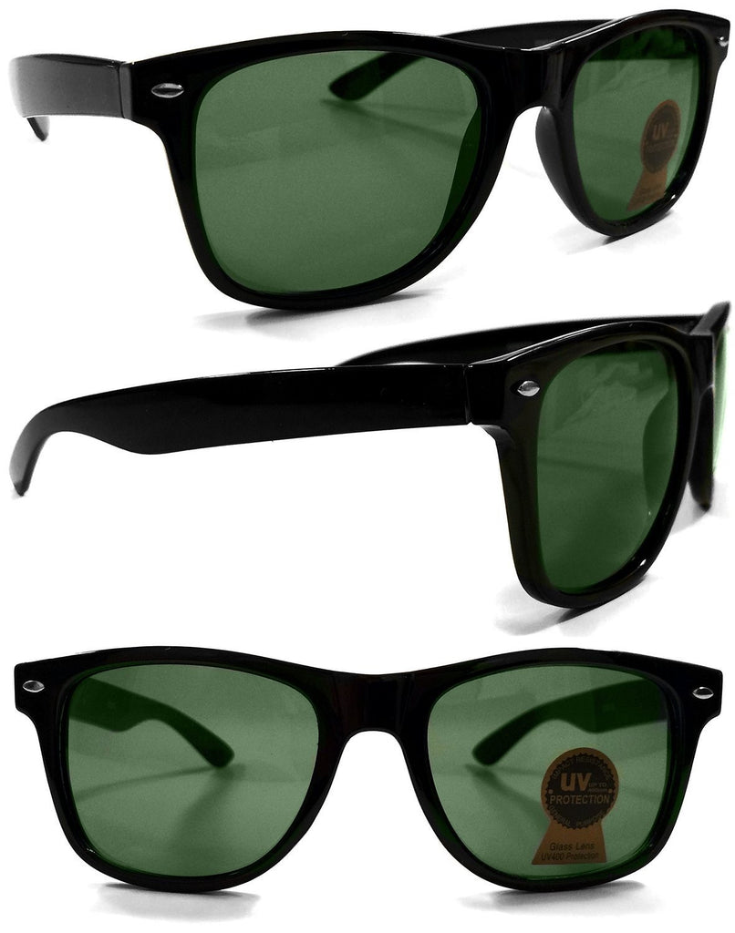 Wayfarer iconic Style Classic Black Sunglasses with Real Glass Lens