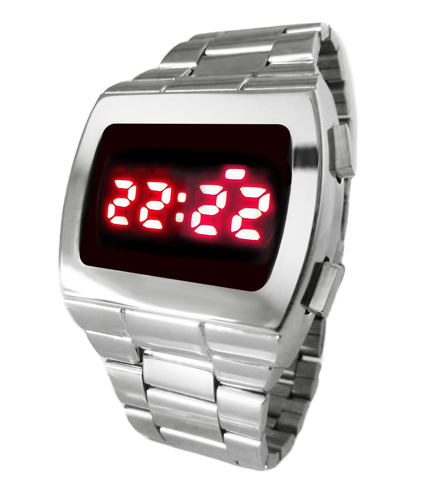 LED Watch Retro Digital 70s Style Vintage Red Chrome & SS Watch TX8 Powerful Multifunction  6 Volt Display can be used in daylight!