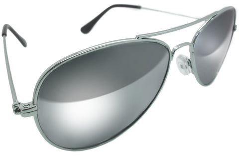 Premium Aviator Sunglasses with Solid Real Glass Silver Full Mirror Lens